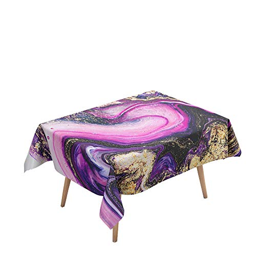 Morbuy Manteles Mesa Rectangular Antimanchas - Mármol Jaspeado 3D Estampado Manteles Cuadrada Impermeable Lavable Mantel para Decoración Cocina Salón Jardín Comedor (Púrpura,140x260cm)