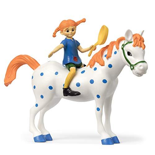 Micki & Friends 44379500 Pippi Langstrumpf Spielfiguren 3-teilig: Pippi, Pfanne, Pferd Kleiner Onkel - Puppen - Puppenhaus-Zubehör - ab 3 Jahre