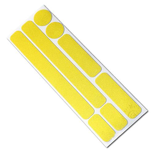 Reflektor Aufkleber Set für Fahrrad, Helm, Anhänger oder Laufrad, reflektierende Aufkleber (zitronengelb)
