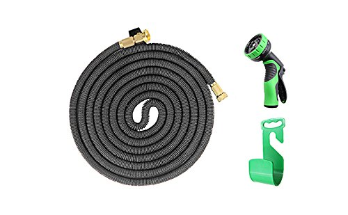 iZEEKER in 2017,Three Times Expandable 50 Feet Magic Hose,Washing Car Hose,Strongest Expandable Garden Hose,Solid Brass Ends