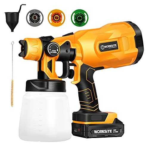 Cordless Paint Sprayer Gun, Power Paint & HVLP Sprayer Gun with 3 Spray Patterns, 2.0A Battery and Adjustable Valve Knob for Painting Ceiling, Fence, Cabinets, Walls, WORKSITE