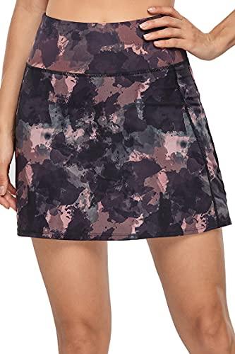 Women's Active Athletic Skirt Sports Golf Tennis Running Pockets Skort Mixed Black Pink Medium