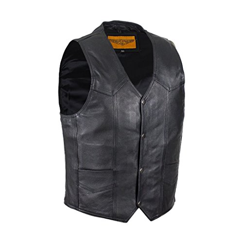 Mens Plain Black Leather Motorcycle Vest with Gun Pocket Solid Back (44)