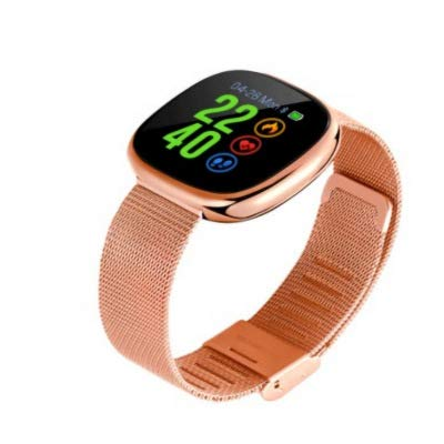 Business Intelligence Armband Bluetooth Sport Stap Monitor Hartslag Bloeddruk Waterdichte Gebogen Lens Touch Grote Scherm Horloge, size, Golden border gold steel strip