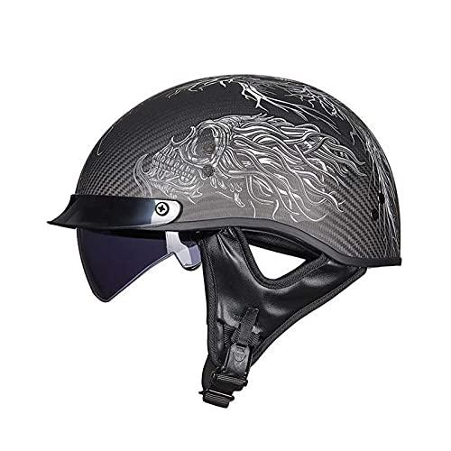 Cascos Half Helmet Casco de Motocicleta Retro Harley Anti-Homach al Casco (Color : F, Size : 63~64CM)