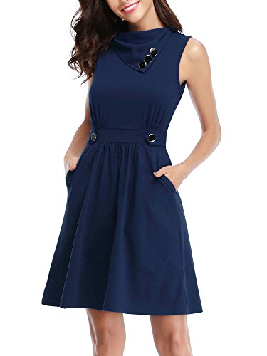 HUHOT Summer Dresses For Women,Womens Sleeveless Cowl Neck Flared Dress With Pockets...
