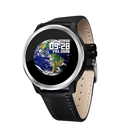 Oyznsb Smartwatch Armband voor dames en heren, waterdicht, Zwart leer.