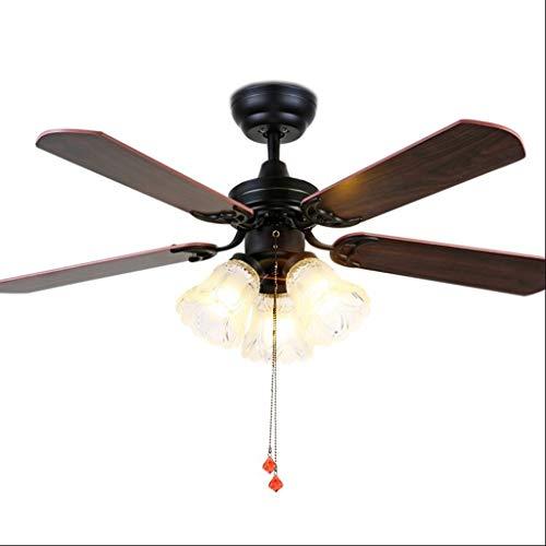 Zyj-Ceiling fan light Ventilador de Techo Vintage Negro con Luces Control Remoto Volt Dormitorio Lámpara de Techo Ventilador Lámpara E27 Bombillas