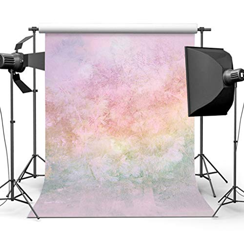 Sensfun 5x7ft Grunge Rainbow Floral Photography Backdrop Baby Portrait Photo Background Newborn Watercolor Painted Photobooth Backdrops