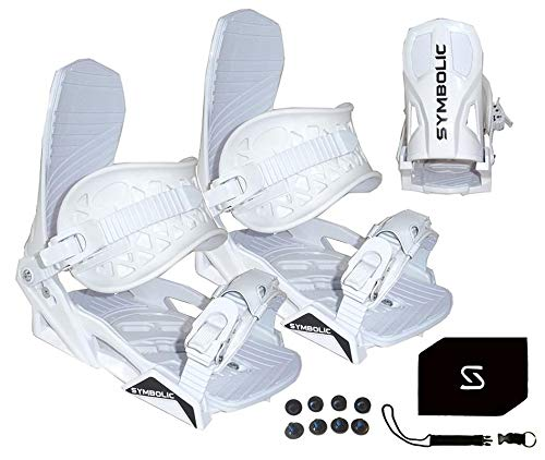 Symbolic Custom-Flow White Snowboard Bindings & Leash & Stomp Pad Small Medium (White, Small-Medium (Fits Men 5-8.5))