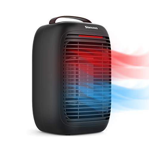 Energiesparend Heizlüfter, Slaouwo Heizgerät Elektrische Heizung 1000W 3 Modi Raumheizkörper, Überhitzungs- und Umkippschutz für Haus Büro Badezimmer