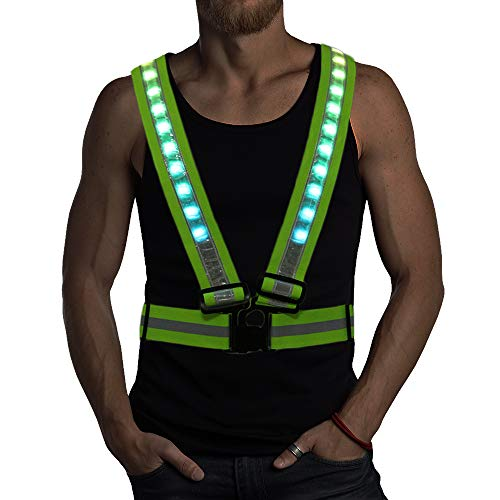 LED Reflective Running Vest with Storage Pouch - 10 Illuminated Modes, USB Charging & Adjustable Safety Gear for Night Running Jogging Cycling - LED Glowing Running Gear