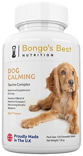 Tranquilizante canino de Bongo's Best – Compuesto de taurina | Suplemento natural relajante para perros | Alivia la ansiedad por separación, estrés, viaje, náusea por movimiento y nerviosismo
