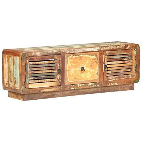 Tidyard Moderno Aparador para TV Mueble TV Salón Mesa Mueble para la TV Madera Maciza reciclada 120x30x40 cm