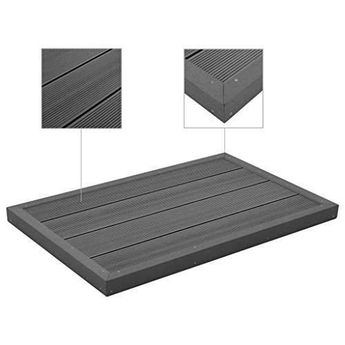 Tidyard Multifunktionale rutschfeste WPC-Platte Bodenelement für Solardusche Poolleiter WPC 101 x 63 x 5,5 cm,Holz-Kunststoff-Verbundwerkstoff