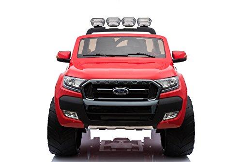 RC Auto kaufen Kinderauto Bild 4: ES-TOYS Kinderfahrzeug - Elektro Auto Ford Ranger, Modell - lizenziert - 2X 12V7AH Akku,4 Motoren 2,4Ghz MP4 Ledersitz Eva 2 Sitzer (Rot)*