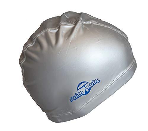 SWIMXWIN Cuffia DUTEX Doppio Tessuto Impermeabile da Nuoto Piscina Mare acque libere Capelli asciutti e Protezione dal Freddo (Silver)