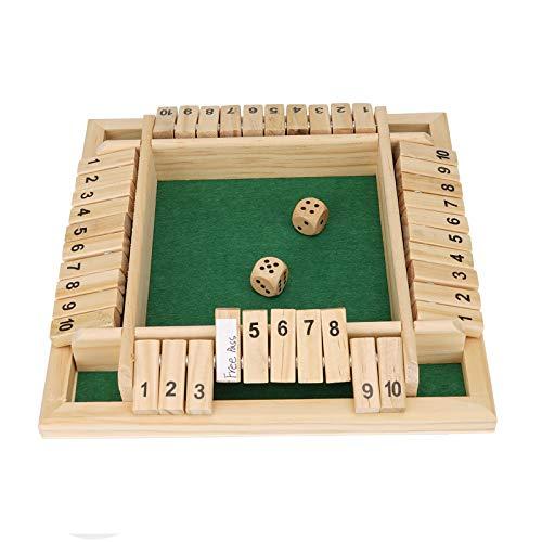 Colmanda Giochi Tavolo Legno Dadi, Gioco da Tavolo in Legno Manuale Inglese Carta Etichette Bianche 1-4 Giocatori di Legno Giocattolo del Gioco dei Dadi Gioco Educativo per Bambini Famiglia