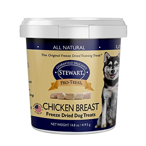 Stewart Pro-Treat, Freeze Dried Chicken Breast Dog Treats, Single Ingredient, Grain Free, USA Made, 14.8 oz. Resealable Tub, Model Number: 401716