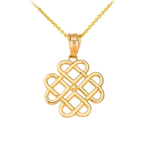 Certified 10k Yellow Gold Endless Celtic Knot Heart Infinity Pendant Necklace, 22'
