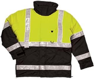 ML Kishigo JS110 Polyester 360 Pro Series Parka HIgh-Viz Jacket with Hidden Collar Hood, Large, Lime