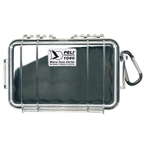 PELI 1040 Wasserdichte Micro Box zum Schutz von Smartphone und Weiteren Elektrischen Utensilien, IP67 Wasser- und Staubdicht, 0,7L Volumen, Hergestellt in den USA, Transparent/ Schwarz Gummieinlage