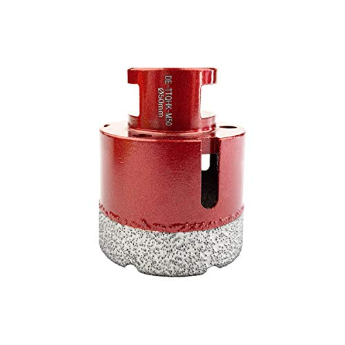 TWIN-TOWN Diamond Tile Dry Drill Bit / Diamond Hole Saw Diameter 50 mm M14 Mounting for Tiles, Ceramics, Granite, Glass, Porcelain, For Use in All Standard Electric and Battery Angle Grinders