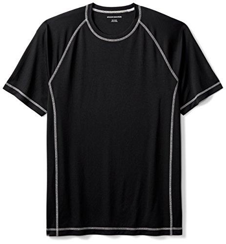 Amazon Essentials Men's Short-Sleeve Loose-Fit Quick-Dry UPF 50 Swim Tee, Black, XX-Large