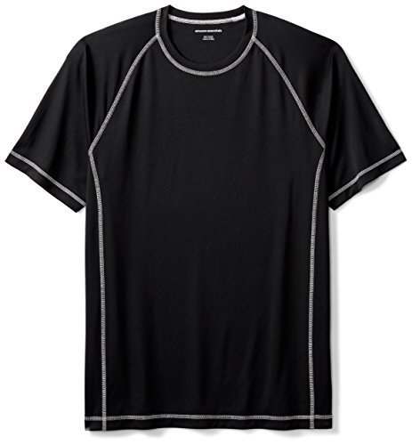 Amazon Essentials Men's Short-Sleeve Loose-Fit Quick-Dry UPF 50 Swim Tee, Black, X-Large