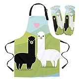 Delantal de dibujos animados de color lindo arcoíris de alpaca Accesorios para hornear de cocina Babero de cocina Delantal de cocina Delantal infantil-LEO03246XTBZ1_M Conjunto de manguito de delantal
