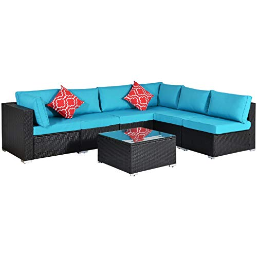 CUISIDIAO 7 Pieces of Outdoor Patio Furniture Sets, with 2 Pillows and Coffee Table, PE Rattan Wicker Sectional Upholstered Sofa Set, The Best Partner for Garden Backyard and Terrace Balcony Fashion