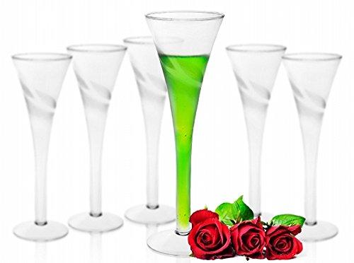Handgemachte Sektgläser im 6er-Pack Milchglas Champagnergläser Proseccogläser Blättern-Motiv