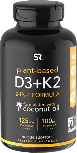 Vitamin D3 + K2 with Organic Virgin Coconut Oil | Plant-Based Vegan D3 (5000iu) with MK7 Vitamin K2 (100mcg) from Chickpea | Non-GMO & Vegan Certified (60 Veggie Softgels)