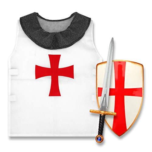 DINOBROS Medieval Crusader Plastic Toy Sword, Shield and Shirt Knight Role Play Costume Set for Kids Age 6-12