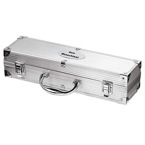 elasto Grillbesteck 3-Teilig Grillkoffer mit Name BBQ Koffer Personalisiert mit Wunsch-Gravur (Motiv 1)