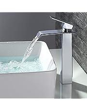 Homelody chroom wastafelarmatuur badkamer waterval waterkraan badarmatuur wastafelmengkraan eengreepsmengkraan wastafelkraan voor badkamer