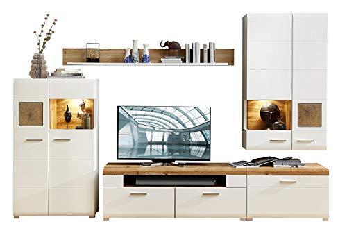 Wohnwand Anbauwand Wohnzimmerschrank 4-TLG.   Dekor   Weiß   Eiche Altholz   LED-Beleuchtung