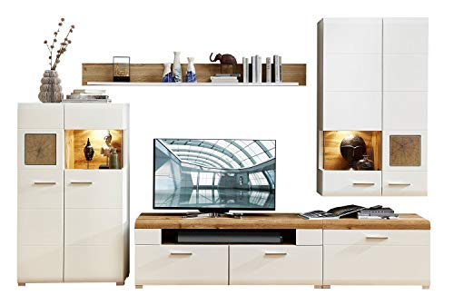 Wohnwand Anbauwand Wohnzimmerschrank 4-TLG. | Dekor | Weiß | Eiche Altholz | LED-Beleuchtung