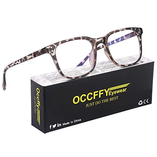 Occffy Lunettes Anti Lumière Bleue à Verres Transparents Lunette Anti Fatigue oculaire pour Homme Femme Filtre PC, Jeux vidéo, Tablette, Gaming Oc092