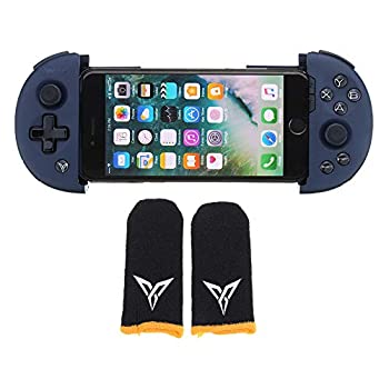 CoCocina 1Pcs Flydigi Wee 2T Adjustable Bluetooth Flexible Gamepad with 2Pcs Black Yellow Gloves for Pubg for iOS Android Mobile Phone Game Controller Navy