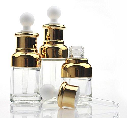 1PCS 30ml/50ml Empty Upscale Refillable Clear Glass Dropper Bottle Essential Oil Elite Fluid Cosmetics Jar Pot Container Bottles Vial with Glass Pipette Dropper (30ml, Gold)