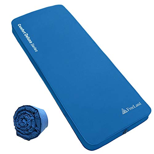 FreeLand Self Inflating Camping Sleeping Pad, Roll up Memory Foam Air Mattress with 4 Inches Thickness for Travel, Car Camping and Guest Bed