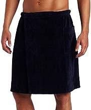 Pure Cotton Terry Cotton Bath Spa Men's Wrap Towels, One Size, Navy Blue Color