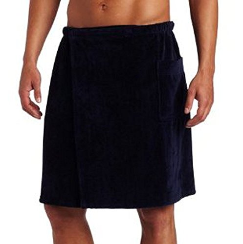 Pure Cotton Terry Cotton Bath Spa Men's Wrap Towels, One Size, Navy Blue Color