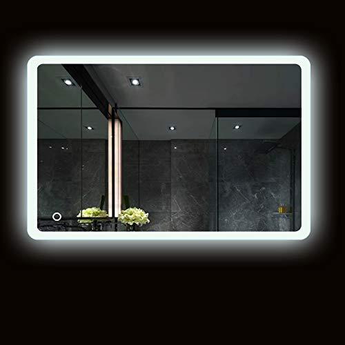 Espejo baño, Espejo baño con luz, Interruptor táctil, luz Blanca fría, Esquinas Redondeadas, más seguras