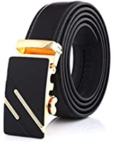 Noble Belts Men's Genuine Leather Belt - Discreet, Quick Release Zinc Alloy Buckle - Casual, Formal, Business Accessories - Birthday, Christmas, Anniversary Gifts and Presents for Dad, Husband, Gold