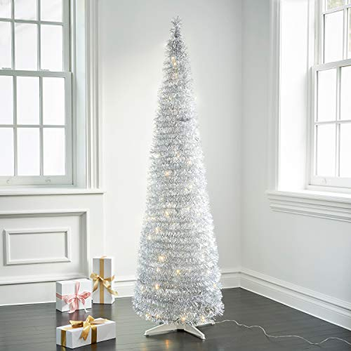 LampLust Pop Up Christmas Tree with Lights - 5.9 Ft, Silver Tinsel, Collapsible for Easy Storage, 150 LED Lights Included, Slim 20 Inch Diameter, Prelit Modern Style Artificial Pencil Tree