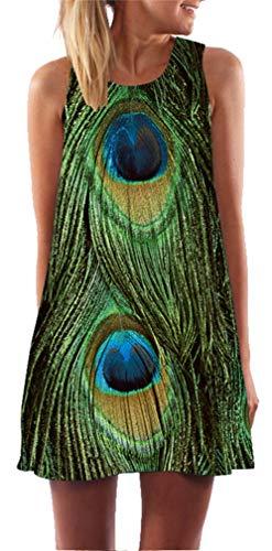 Ocean Plus Mujer Verano Tops Camisola sin Mangas Colorido Ropa Pavo Real Flores Vestidos de Playa Búho Corto A Line Vestido Cover Up (XXL (EU 42-44), Pluma Verde de Pavo Real)