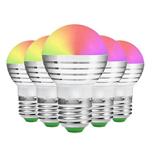 Led Bulbs E27 / E26 RGB Dimmable 5W LED Lampadina Con 21 chiave di Infrared Remote Control Adatto for Soggiorno CA 85-265V (5pack)