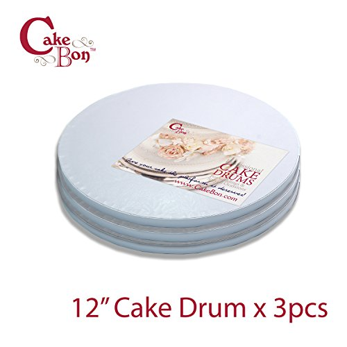 Cake Drums Round 12 Inches - Sturdy 1/2 Inch Thick - Professional Smooth Straight Edges (White, 3-Pack)